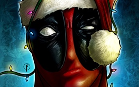Картинка взгляд, маска, арт, Merry Christmas, deadpool