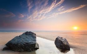 Картинка песок, пляж, камни, берег, расвет