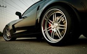 Картинка чёрный, колесо, Z06, Corvette, Chevrolet, диск, шевроле