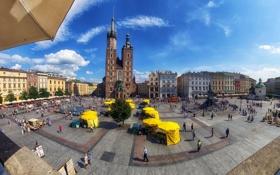 Картинка площадь, Польша, Краков, памятник Мицкевичу, Рынок главный, Мариацкий костьол