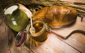 Обои пестик, колосья, кувшин, хлеб, баночка, аппетитно, мёд