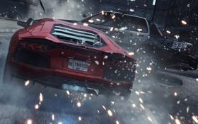 Картинка авария, гонка, погоня, искры, удар, need for speed most wanted 2, Lamborghini Aventador LP700-4