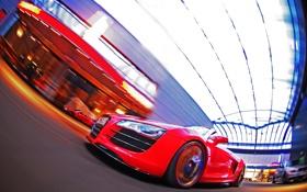 Картинка car, машина, отражение, скорость, audi r8, tuning, speed