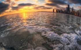 Картинка лед, вода, город