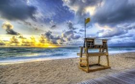 Beach, sea, water, sand, sunset обои