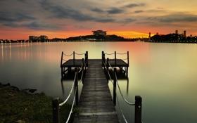 Обои закат, город, огни, спокойствие, пристань, залив, Малайзия