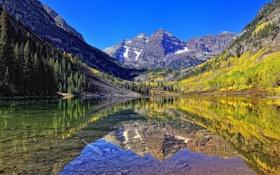 Обои камни, горы, небо, озеро, зеркало