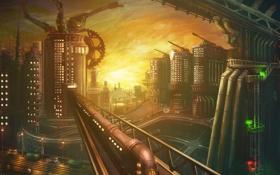 Обои будущее, мир, здания, дороги, поезд, высокие, механики