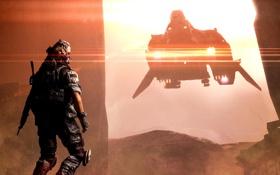 Обои Робот, Экипировка, Пыл, Охотник, Корабль, Свет, Electronic Arts