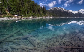 Картинка пейзаж, гарибальди, скалы, небо, лес, канада, вода