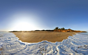 Картинка песок, пляж, океан, берег, утро