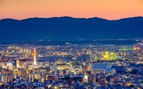 Картинка пейзаж, горы, ночь, огни, дома, Япония, панорама