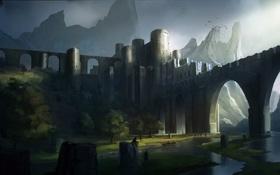 Картинка деревья, горы, птицы, мост, река, люди, замок