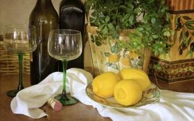 Обои бутылки, бокалы, лимон, цитрус, цветок
