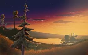 Картинка лес, деревья, закат, вечер, арт, пустош