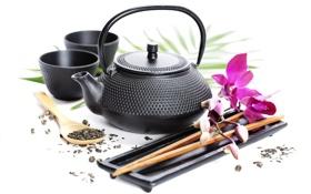 Картинка цветок, чай, палочки, чайник, кружки
