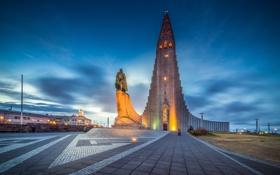 Картинка Reykjavik, памятник, Рейкьявик, церковь, Исландия, ночь