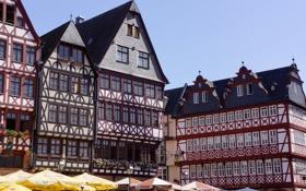 Обои небо, дома, зонт, Германия, площадь, Франкфурт-на-Майне, фахверк