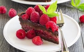 Обои сладость, мята, выпечка, малинка, шоколадный торт