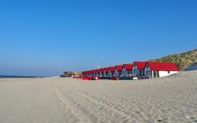 Обои песок, море, небо, берег, пляжный домик