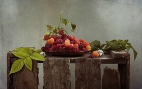Обои ягоды, малина, ящик
