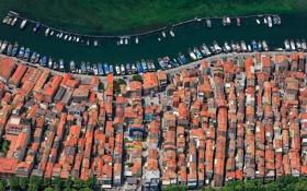 Картинка дома, лодки, Италия, панорама, канал, Кьоджа, провинция Венеция