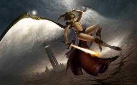 Картинка девушка, огонь, башня, крылья, меч, арт, шлем