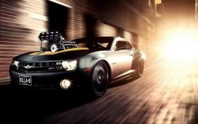 Картинка chevrolet camaro, тюнинг, muscle car, в движении, шевролет камаро