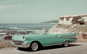 Картинка Convertible 1957, машина, retro car, Bel Air, Chevrolet
