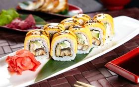 Обои рис, суши, начинка, японская кухня, имбирь, соевый соус