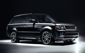 Обои чёрный, джип, внедорожник, Land Rover, диски, передок, range rover sport