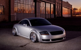 Обои audi, grey, tuning, low