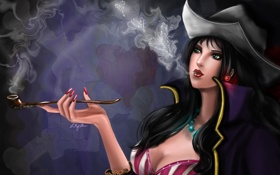 Обои smoke, woman, cigarette, Hat