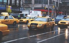 Обои машины, город, движение, улица, такси