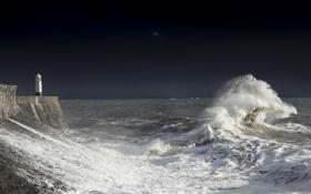 Обои waves, storm, nature, beauty, lighthouse, dark skies, Bristol channel surf