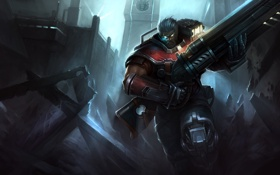Обои оружие, разрушения, бег, костюм, парень, art, league of legends