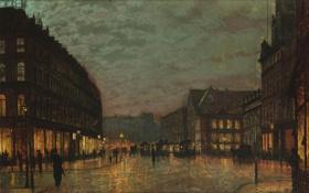 Картинка город, люди, улица, здания, дома, John Atkinson Grimshaw, Boar Lane by Lamplight Leeds