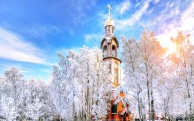 Картинка зима, Санкт-Петербург, храм, Россия