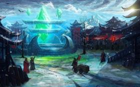 Обои кристалл, солнце, горы, азия, дома, деревня, арт