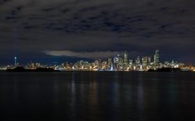 Обои ночь, город, небоскребы, панорама, Seattle