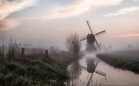 Картинка пейзаж, природа, туман, утро, мельница, канал