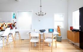 Обои белый, стол, фон, комната, обои, стулья, квартира