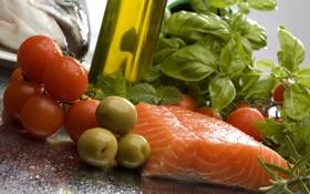 Обои масло, рыба, красная, помидоры, оливки