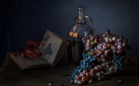 Картинка синий, дом, стол, сиреневый, вино, темный, виноград
