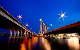Обои мост, город, огни, вечер, снгапур