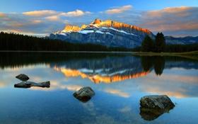 Обои небо, облака, снег, деревья, закат, горы, озеро