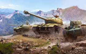 Обои war, танки, World of Tanks, концепт арт, китайские танки