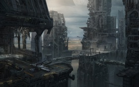 Обои город, будущее, фантастика, мрак, мегаполис