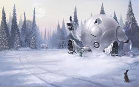 Картинка зима, снег, игра, робот, ели, дружба, art