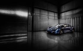 Картинка гараж, Porsche, спорткар, порше, gt3, тёмносиний